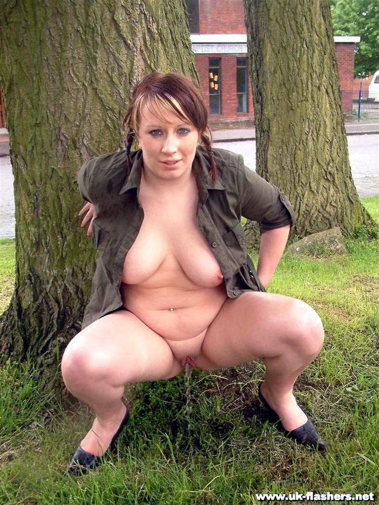 Shaved babe outdoor